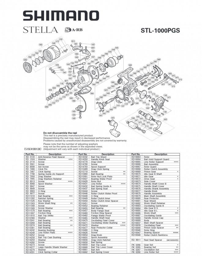 Схема катушки Shimano Stella